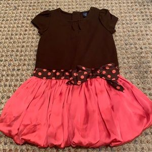 Baby GAP Pink & brown dress with attached belt/bow